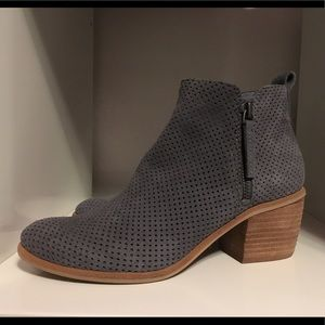 Gray suede ankle booties.